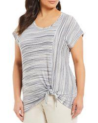 Jones New York - Plus Size Jersey Striped Tie Hem Short Sleeve Shirt - Lyst