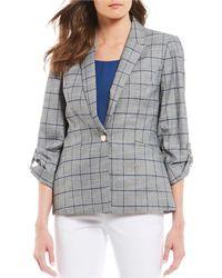 Donna Karan - New York Windowpane Plaid Roll-sleeve Jacket - Lyst