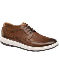 Johnston & Murphy Johnston Murphy Men's Elliston Wingtip Leather Oxford - Brown