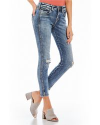 Silver Jeans Co. - Avery Relaxed-fit Acid-wash Ankle Skinny Jeans - Lyst