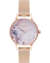 Olivia Burton - Watercolour Florals Rose Gold Mesh Watch - Lyst