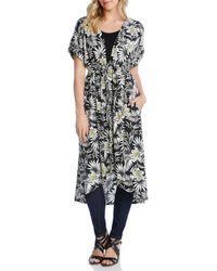 Karen Kane - Floral Print Short Sleeve Midi Length Duster - Lyst