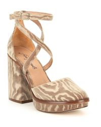 Free People - Remi Velvet Block Heel Platform Pumps - Lyst