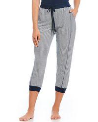 Splendid - Striped Cropped Jersey Jogger Sleep Pants - Lyst