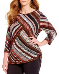 Ruby Rd. - Plus Size 3/4 Sleeve Stitched Diagonal Placement Print Side Ruched Knit Top - Lyst