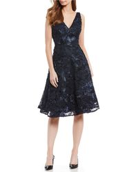 Antonio Melani - Ethel Floral Embroidered Mesh Lace V-neck Midi Dress - Lyst