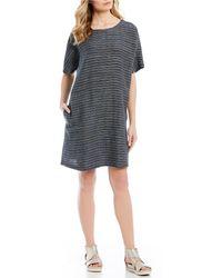 36a84141772 Eileen Fisher Tinted Linen Gauze Tank Dress in Gray - Lyst