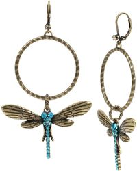 Betsey Johnson - Pavé Dragonfly Hoop Earrings - Lyst