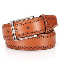 Cole Haan - Perforated Trim Leather Dress Belt - Lyst