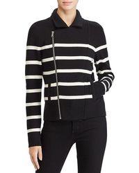 Lauren by Ralph Lauren - Striped Moto Jacket - Lyst