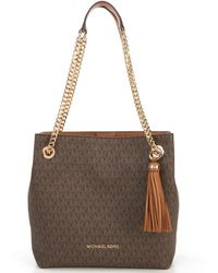 f090708e3700 Lyst - MICHAEL Michael Kors Jet Set East/west Signature Tote in Metallic