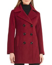 Anne Klein - Petite Double Breasted Peacoat - Lyst