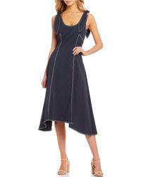 56d7d8252bf Gianni Bini - Luna Contrast Stitch Bow Strap Handkerchief Hem Midi Dress -  Lyst