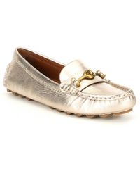 40fc4e47d48 COACH - Crosby Metallic Leather Driver Loafers - Lyst