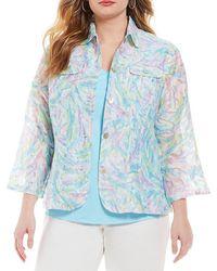 Ruby Rd. - Plus 3/4 Sleeve Button Front Paint Splash Print Crinkle Burnout Jacket - Lyst