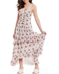 5c8528c7c6 Chelsea   Violet - Floral Print Ruched Front Tiered Ruffle Maxi Dress - Lyst