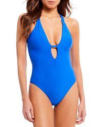 Gianni Bini - Fan Fav Romantic Solids Plunge One-piece Swimsuit - Lyst