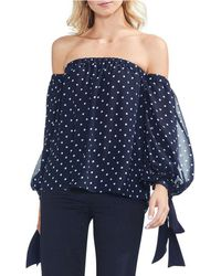 f1a0a6b9aca6b Vince Camuto - Off-the-shoulder Bubble Sleeve Dot Blouse - Lyst