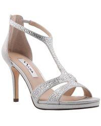 Nina - Brietta Rhinestone Embellished Fabric Dress Sandals - Lyst