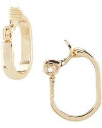Anne Klein - Gold Clip Hoop Earrings - Lyst