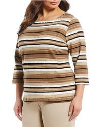 Ruby Rd. - Plus Size Embellished Boat Neck Painterly Stripe Print Knit Top - Lyst