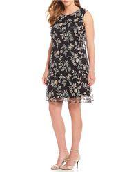 Calvin Klein - Plus Size Floral Print Lace Chiffon Trapeze Dress - Lyst