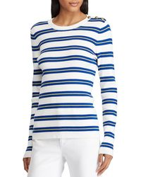 Lyst - Lauren By Ralph Lauren Petite Bullion-patch Cotton Cardigan ... 1216a3b01
