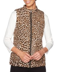 Ruby Rd. - Zipper-front Textured Cheetah Animal Print Quilted Reversible Vest - Lyst
