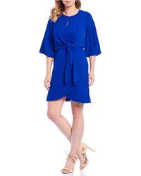 f0f7290f Tahari Plus Size Sleeveless Seersucker Stripe Midi Shirt Dress in Blue -  Lyst