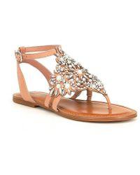 Gianni Bini - Oliviana Jeweled Pearl Detail Flat Sandals - Lyst