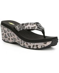 Volatile - Amane Leopard Print Wedge Thong Sandals - Lyst