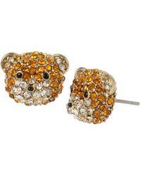 Betsey Johnson - Pave Teddy Bear Stud Earrings - Lyst