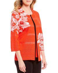 Misook - Jewel Neck Floral Print Jacket - Lyst