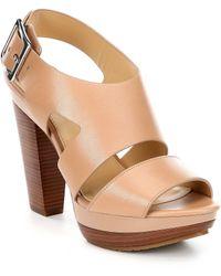 68489293d2a9 MICHAEL Michael Kors - Carla Leather Platform Block Heel Sandals - Lyst