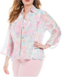 Ruby Rd | Plus 3/4 Sleeve Button Front Peony Garden Print Crinkle Burnout Jacket | Lyst