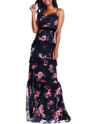 Adrianna Papell - Tiered Floral Printed Tulle Gown - Lyst