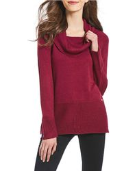 Ivanka Trump - Mixed Texture Ribbed Cowl Neck Sweater - Lyst