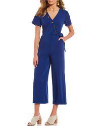 June & Hudson - Button Faux Wrap Crop Jumpsuit - Lyst
