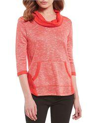 e2ec6855b2a5b Lyst - Ruby Rd Petites Drawstring Cowl Neck Embellished Hem Sweater ...