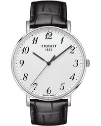 Tissot - Everytime Men's Black Silver Dial Leather Strap Watch - Lyst