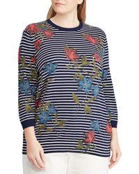 0cf6fdec676 Lyst - Lauren by Ralph Lauren Plus Size Stripe Stretch Cotton Bell ...