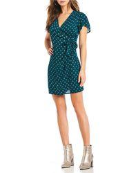Patrons Of Peace - Flutter Sleeve Wrap Dress - Lyst