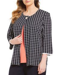 Ming Wang - Plus Size Jewel Neck Check Pattern Jacket - Lyst