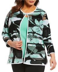 Ming Wang - Plus Size Jewel Neckline Floral Long Jacket - Lyst