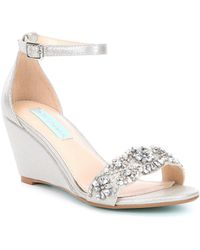 Betsey Johnson - Blue By Taryn Wedge Jeweled Dress Sandals - Lyst