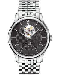 Tissot - T-classic Tradition Powermatic 80 Open Heart Bracelet Watch - Lyst