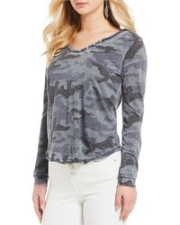 William Rast - Cooper Camo Faux Henley Knit Top - Lyst