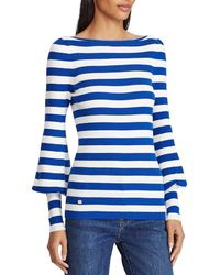 Lauren by Ralph Lauren - Striped Puff-sleeve Sweater - Lyst