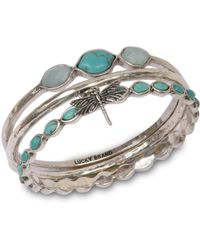 Lucky Brand - Silver Bangle Set - Lyst