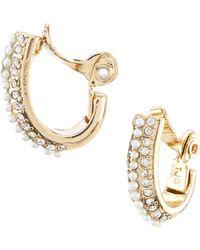 Anne Klein - Pearl Hoop Clip Earrings - Lyst